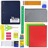 18 Piece School Supply Kit - Back to School Supplies Set - Complete Bundle for All ages - Great Value Pack! (24)