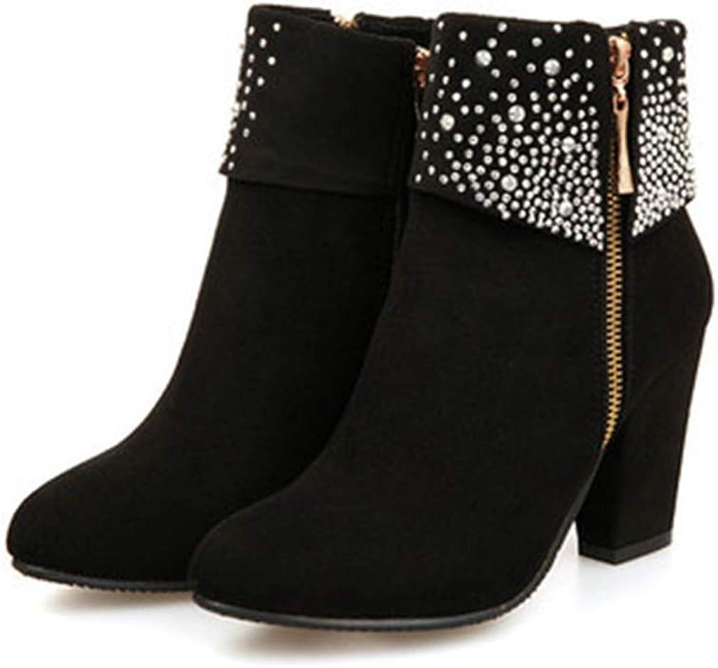 Women's Chunky Block High Heel Rhinestone Ankle Boots Suede Platform Zipper Bootie Dress Short Boots