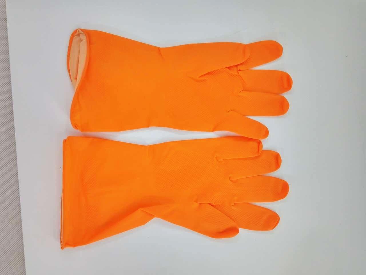 FixtureDisplays 3ペアflock-linedラテックス家庭用キッチンクリーニングDishwashingゴム手袋、クリーニング手袋、大、オレンジ16781-l-orange-nf B0776SWG9Y