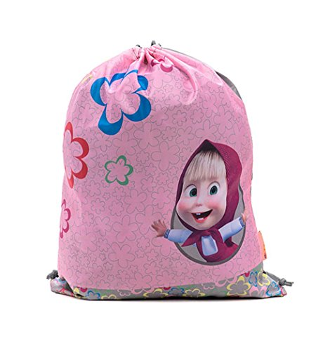 Bag for Shoes Masha and the Bear Backpack Bag (9inch) E Orso Kindergarten for Baby Preschool Bag Masha and the Bear, Baby Bag, Small Backpack Kids Cute Backpack Kindergarten Little Girl Rose Gray by Masha and the Bear
