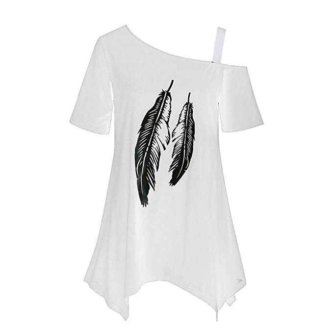 Firally Womens Plus Size Fashion Feather Printing Short Sleeve Tops Summer Casual One Shoulder Irregular Hem Loose T-Shirt