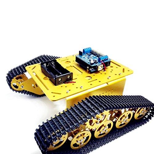 Makerfocus Robot Smart Car Platform Metal Stainless Steel Chassis Speed Encoder Motor 9V Golden with Crawler for Arduino DIY