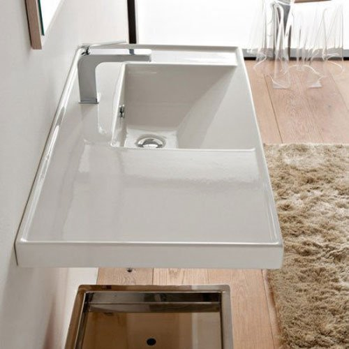 Scarabeo 3009-One Hole ML Rectangular Ceramic Self Rimming/Wall Mounted Bathroom Sink, White by Scarabeo