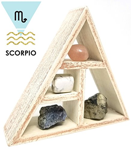 SCORPIO Zodiac Crystal Healing Set / Tumbled Stones and Wooden Geometric triangle shelf in Gift Box / Astrology Sign Scorpio Birth Stones