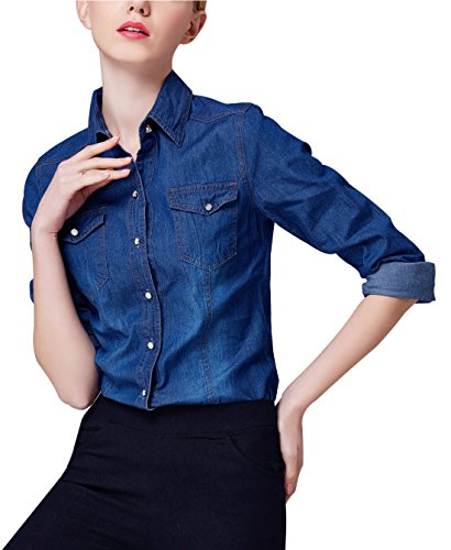 Yeokou Women's Classic Long Sleeve Button Down Denim Chambray Jean Shirt (Large, Dark Blue) ()