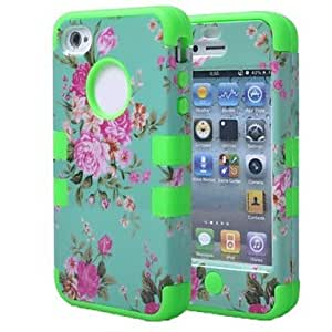 QYF Orchid Hybrid 3 in 1 Dual Color TPU Rubber Hard Back Cover for iPhone4/4S , Blue