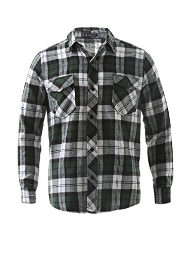 [uxcell Men Big and Tall Plaid Flannel Shirt Green XXL] (Green Plaid Flannel Shirt)