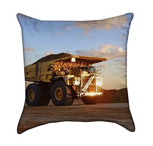 Truck Dump Coal (Peaceful Yellow Dump Truck at Sunset Throw Pillow Cover)