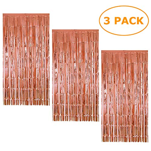 3 Pack Foil Curtains Metallic Fringe Curtains Rose Gold Shimmer Curtain for Party Decorations
