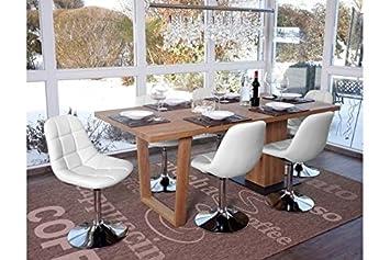 Hochwertig 6 X Esszimmerstuhl Weiß Stuhlset Stühle Drehbar Küche Modern Design  Tellerfuß