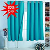 EMONIA Blackout Curtains for Bedroom & Living Room Darkening – (turquoise, width x length:52″x63″, 2 panels) Window Drapes – Thermal Insulated Grommet Shades Curtain to Black out Light For Sale