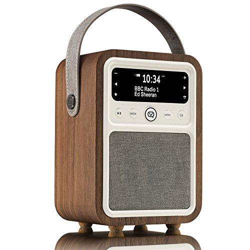 (VQ Monty HD Radio & Bluetooth Speaker with AM/FM, Dual Alarm Clock, Mains or Battery – Real Wood Walnut Case)