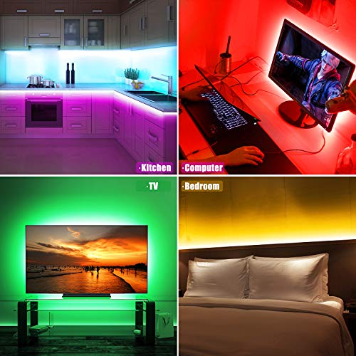 LED Strip Lights, ViLSOM 20ft USB RGB Led Light Strip Kit with Remote, SMD 5050 LED Color Changing Rope Lights for 40-100in TV Backlight, Bedroom, Room, Party, DIY Home Decorations