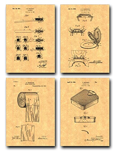 Bathroom Patent Print Set of Four Art Posters – Gold Parchment 20 x 24