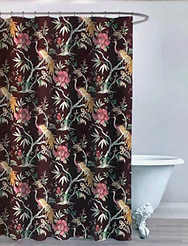 Envogue Designer Shower Curtain Exotic Oriental Jacobean Style Floral Pattern with Peacocks in Shades of Red Green Yellow Pink on Burgundy Red 100% Cotton Luxury (Jacobean Floral)