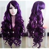 Beauty Smooth Hair 80cm Spiral Curly Cosplay Perücke (violett)
