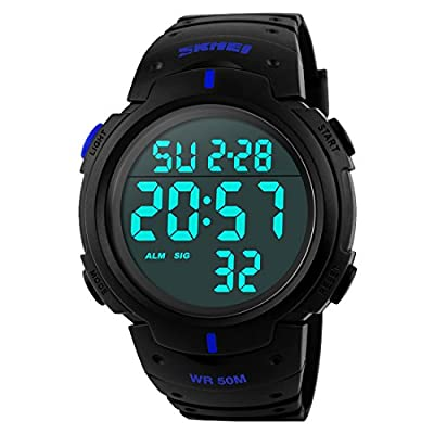 Takyae 2016 Mens Military Digital Sport Watch with Fashion Design Electronic LED Display Water Resistant - Blue