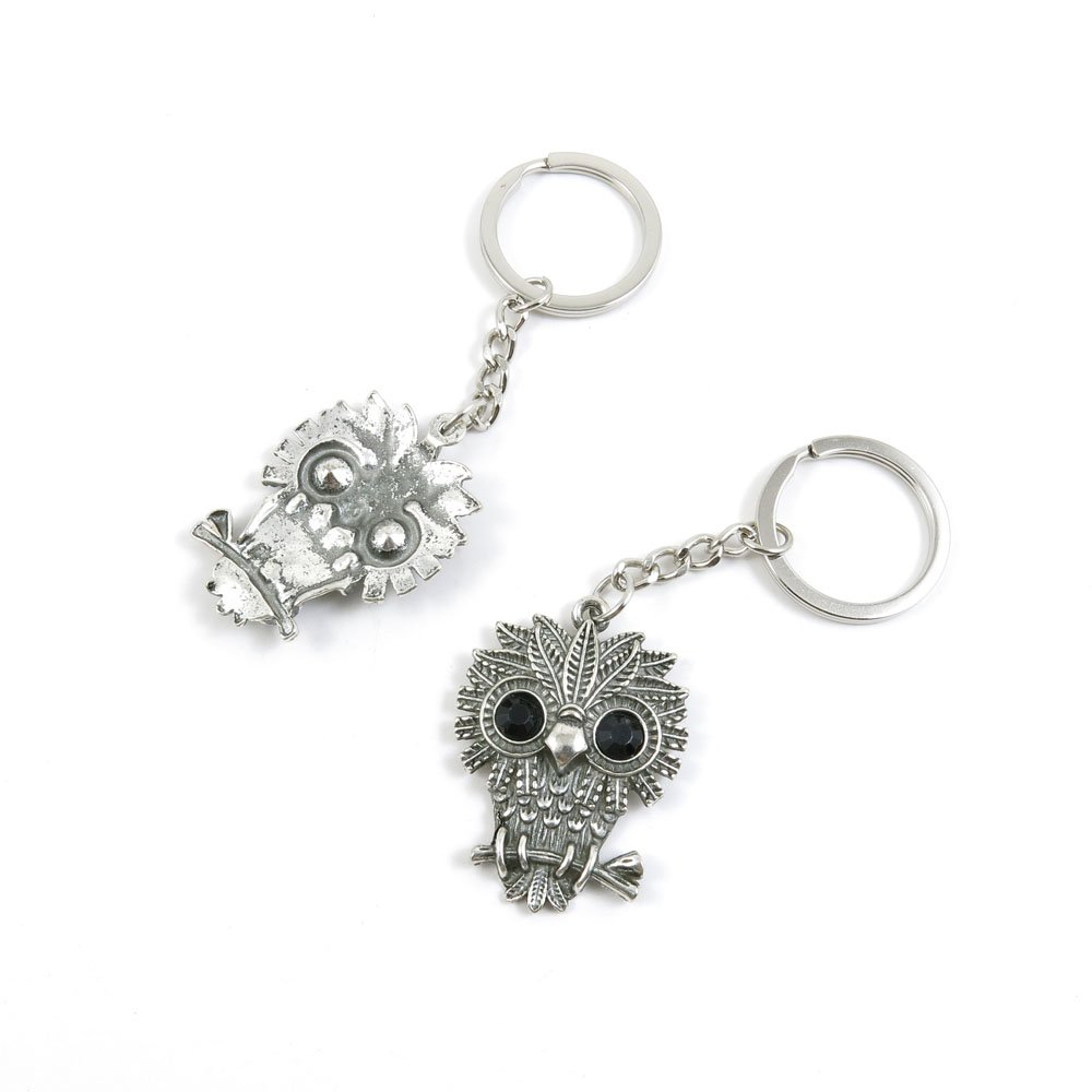 100 Pieces Keychain Door Car Key Chain Tags Keyring Ring Chain Keychain Supplies Antique Silver Tone Wholesale Bulk Lots Z1TK9 Owl
