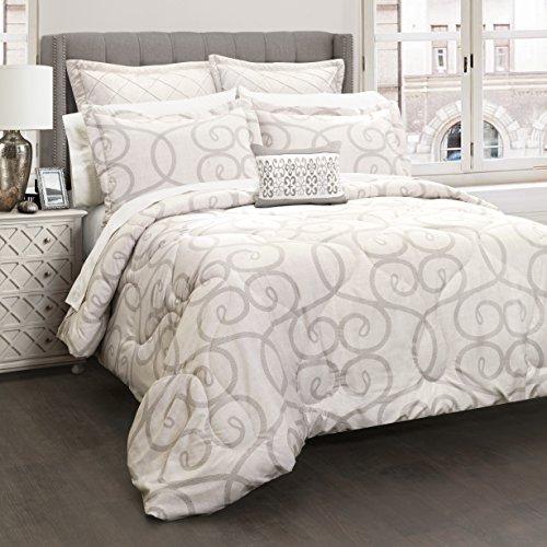 Queen Scroll (Lush Decor 16T000795 Elegant Scroll 6Piece Comforter Set, Beige, Full/Queen)