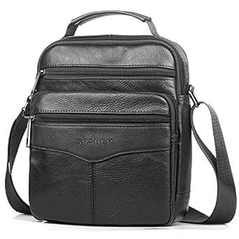 SPAHER Men Leather Handbag Shoulder Bag IPAD Business Messenger Backpack Crossbody Casual Tote Sling Travel Bag with Top-Handle and Adjustable Strap Large Size (Black)