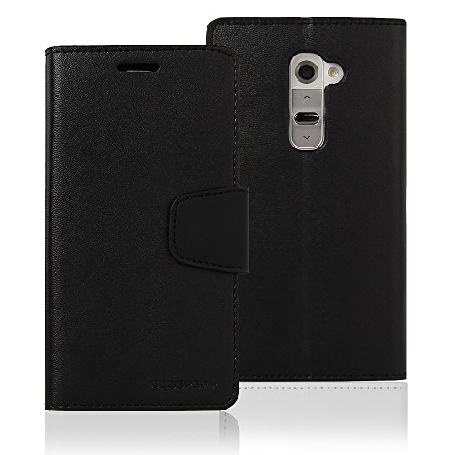 LG G2 Case, [Drop Protection] Goospery Sonata Diary Wallet Synthetic Leather Case [ID Credit Card Slots & Cash Compartment] with Stand Flip Cover for LG G2 II - Black