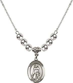 18-Inch Rhodium Plated Necklace with 6mm Sterling Silver Beads and Sterling Silver Saint Peregrine Laziosi Charm.