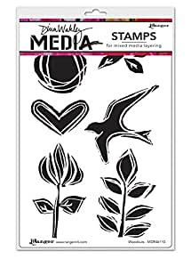 Ranger Woodcuts Dina Wakley Media Cling Stamps, 6 by 9""