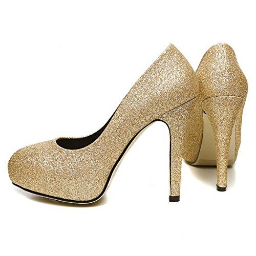 COOLCEPT Zapatos Moda Sin Cordones Dedo Del Pie Cerrado Bombas Zapato Tacon de Aguja Shiny Boda Mujer Or Oro