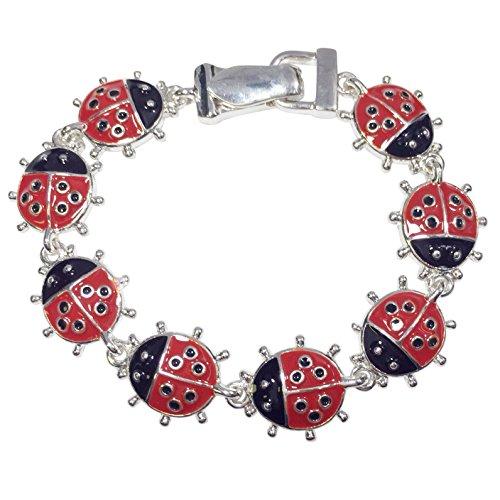 Gypsy Jewels Colorful Silver Tone Themed Linked Magnetic Clasp Bracelet (Ladybug)