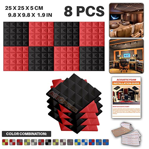 ace-punch-8-pack-4-pcs-black-and-4-pcs-red-pyramid-acoustic-foam-panel-diy-design-studio-soundproofi