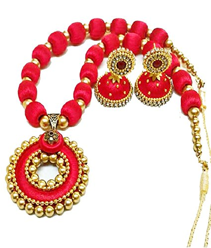 GOELX Popular Red Pendant Silk Thread Necklace Set Indian Style Designer Jhumki Earrings Set ()