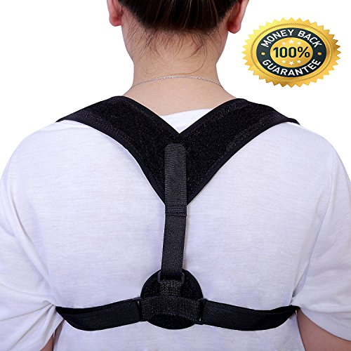 Back Pain Poster - Back Posture Corrector Clavicle Support Brace for Women & Men – Adjustable Posture Brace for Improve Bad Posture | Thoracic Kyphosis Brace- Relieve Upper Back Pain - Kyphosis - Hunchback Black