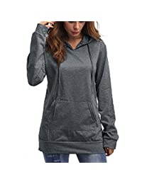 DOKER Women's Solid Color Kangaroo Pocket Long Sleeves Hoodie Pullover Sweater