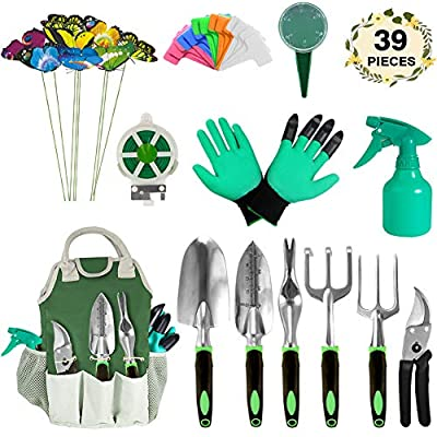 AOKIWO Garden Tools Set, 39 Pieces Heavy Duty Gardening Tools with Garden Gloves and Organizer Tote Aluminum Hand Tool Kit Gardening Gifts for Men & Women