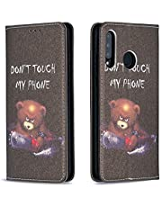 Miagon Wallet Folio Flip PU Leather Case for Huawei P30 Lite,Creative Painted Design Full-Body Protective Cover Card Holder Kickstand Magnetic,Bear Saw