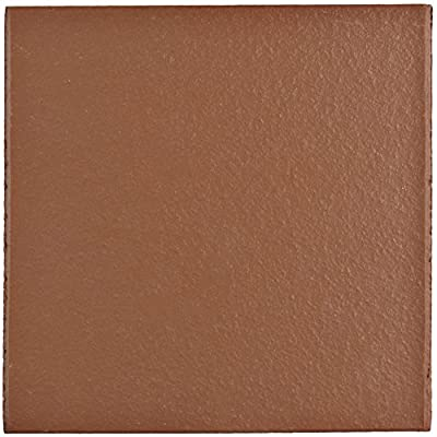 "SomerTile FGA6KRD Carriere Quarry Floor & Wall Tile, 5.875"" x 5.875"", Red"