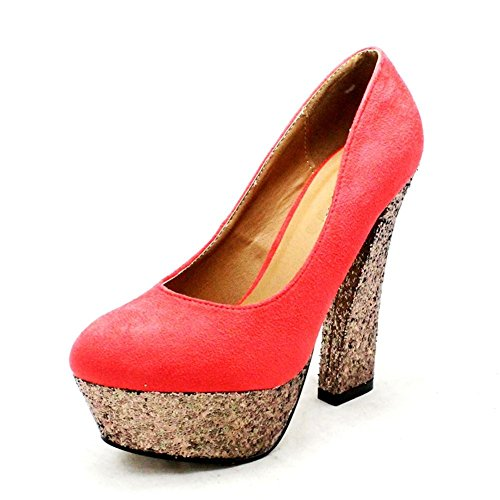 SendIt4Me Ladies Suedette Court Shoes with Silver Glitter Chunky high Block Heel Coral Y60Wp