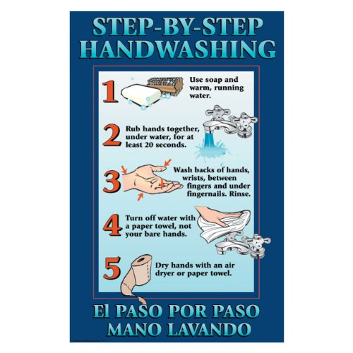 DayMark IT112092 Laminated Workplace Safety and Educational Poster, Step-By-Step Hand Washing, 11