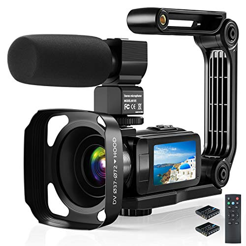 Video Camera Camcorder, 2.7K Ultra HD YouTube Vlogging Camera, 36MP IR Night Vision Digital, 3.0″ IPS Touch Screen,16X Digital Zoom Video Camcorder with Microphone Handheld Stabilizer Remote Control