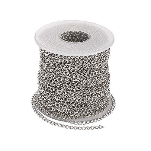 Pandahall 82 Feet/25 Meters Soldered 304 Stainless Steel Curb Chains 4x3x0.6mm Stainless Steel Color Plated for Jewelry Making