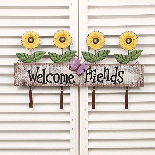 "Chris.W Wood Sign Board ""Welcome Friends"" Coat Rack Hooks 