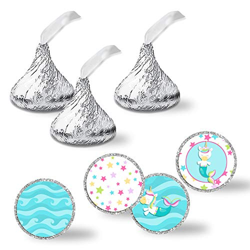 Magical Mermaid Unicorn Themed Birthday Party Kiss Sticker Labels, 300 Party Circle Sticker sized 0.75