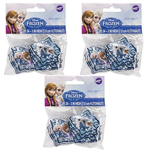 3 X Wilton Industries 2113-4500 Disney Frozen Fun Pix Cupcake Decor