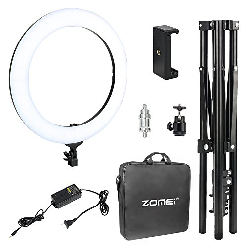 Zomei 18-inch LED Ring Light with Stand Photography Makeup, Camera Photo Studio Video Shooting Heavy Duty Mount for DSLR, iPhone & Android Smartphones from ZoMei