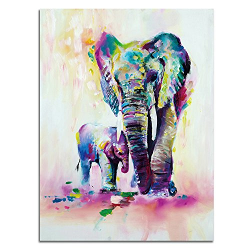 ShuaXin 1 Piece Colorful Elephant Oil Painting Print on Canvas Wall Art for Room Decor Frameless (28X32 Inch)