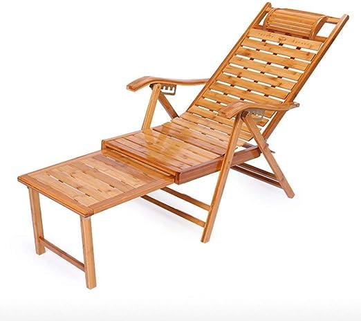NO BRAND Tumbonas Jardin bambú Sillón Ajustable en 5 Posiciones largas Silla de Ocio Asignación Fuera Plegables Tumbona Silla de jardín balcón reposapiés Relax: Amazon.es: Jardín