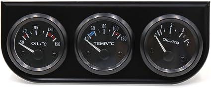 Sourcingmap Carreras Tablero Panel Triple Temperatura Agua Aceite Presi/ón 52mm