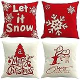 4 Packs Christmas Pillowcases KANZER Xmas Deer Snowflakes Pillow Covers Sofa Waist Throw Cushion Cover 18x18''