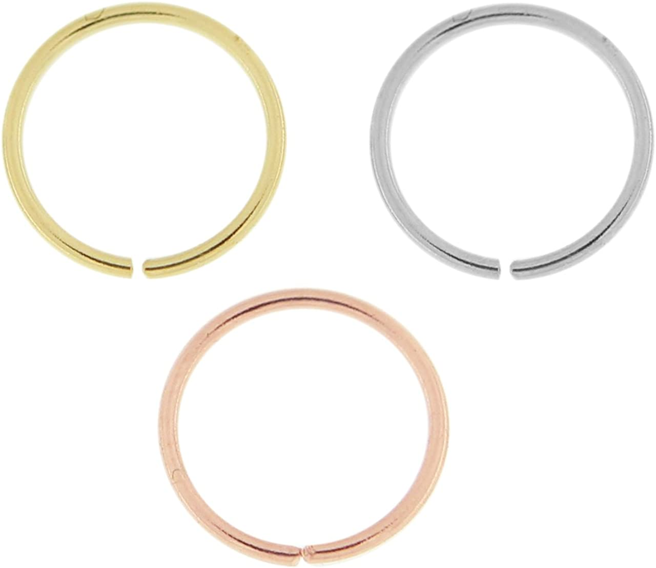 PiercingPoint 3 Pieces Box Set of 14 Karat Solid Gold 20 Gauge - 6MM Length Seamless Continuous Nose Hoop Ring