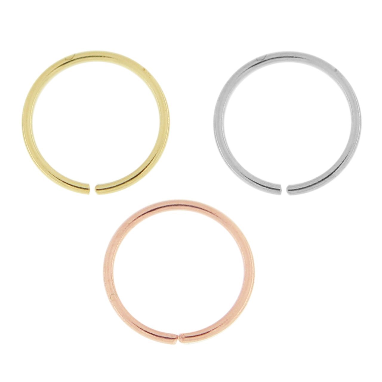 3 Pieces Box Set of 14 Karat Solid Gold 20 Gauge - 6MM Length Seamless Continuous Nose Hoop Ring by PiercingPoint